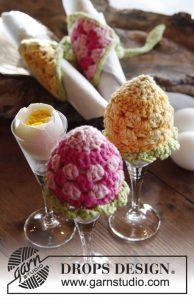 Gehaakte eierwarmers en servetringen voor de paastafel