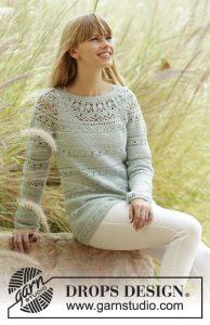 Van boven naar beneden gehaakte trui met kantpatroon