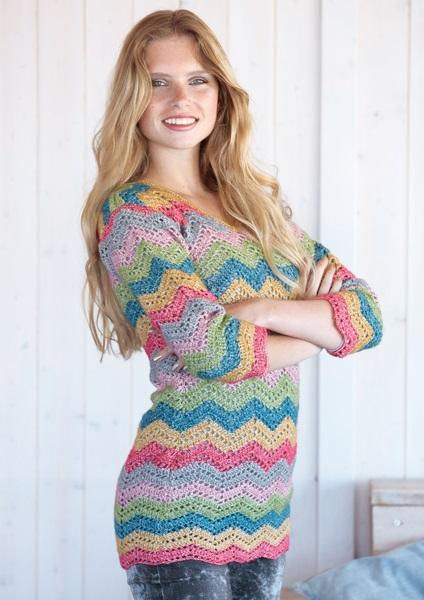 Gehaakte trui met streepjes van Scheepjeswol